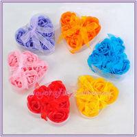 So Nice Bowknot Detail Heart Shape Box Petal 6 Pcs Rose Bath Soap Flower