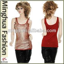 2014 Sexy sequin ladies shell top ladies fashion sequin vest
