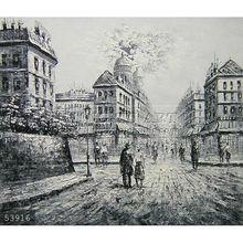 Handmade impressionist Paris street Black & White Oil Painting, Cross road