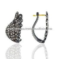 Handmade wholesale 18 k yellow gold pave diamond feather shape huggie dangle earrings jewelry
