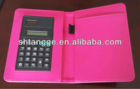 leather mini notepad holder with calculator 2014 Hot sell