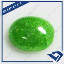 green cz oval cabochon flat back gemstone