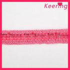 2.5cm Pink beaded tatting lace trim WTP-1113