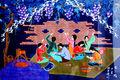 Mujeres chinas de trabajo en la noche de la pintura al óleo