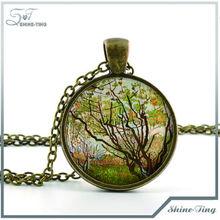 Van Gogh Necklace Van Gogh Jewelry Vergers en Fleurs Painting with Tree Art Antique Bronze Picture Pendant130901-51