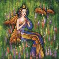 chino hermosa niña se sienta en casa flores de pared pintura al óleo