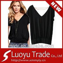 black sex xxl v-neck women tshirt
