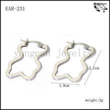 2013 wholesale cute bear shape 316L stainless steel hoop earring findings for women