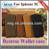 2013 New Restore leather case for iphone 5C, for iphone 5c leather case