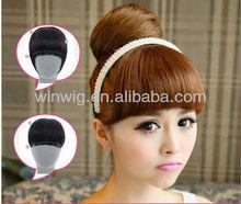 100% human hair non-trace hand-woven bang piece hair weaving