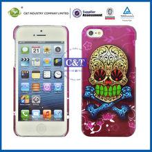 C&T Shiny golg/sliver foil skull back cover case for iphone 5/5s