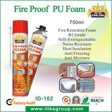 ISO9001 MSDS OEM fire proof pu foam