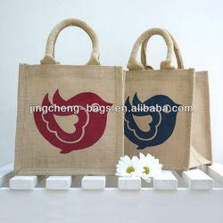 (JC-J055) Original Red Blue Bird Mini Painted Jute Bags