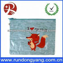 Beautiful plastic zipper bag for packing printed red fox