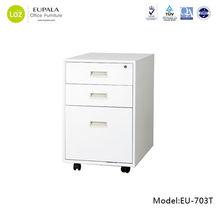 office furniture 3 drawer steel movable file cabinet, metal office mobile pedestal, vertical drawer filing cabinet