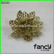 golden glitter lotus flower heads new christmas tree decorative 2013