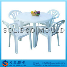 plastic chair and round table