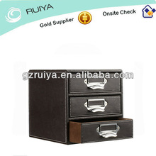 Faux Leather Brown Stitched 3 Drawer Filing Unit With Nickel Plated Handle Puller Desk Accessory Range Three Tier Paper Sorter