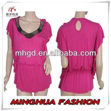 Beaded Neck Fushia Elastic Waist Batwing red blouse