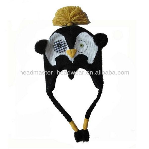 animal earflap hats / minion kids knitted winter beanie hat