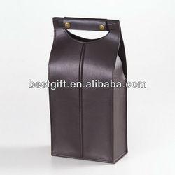 Simple stylish folding wine carrier bag leather wine tote bag carrier folding double wine carrier