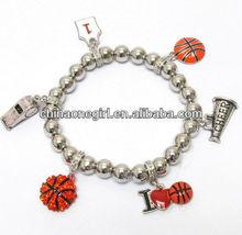Crystal deco basketball and cheerleader theme charm stretch bracelet