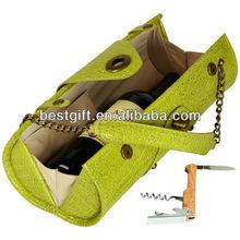 Gold chain strap top genuine leather cute wine bottle holder lemony wine carrier case