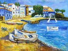 Handmade wall art supplies- beautiful impressionist landscape oil painting