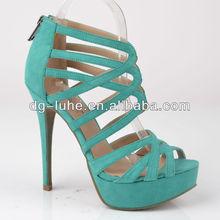New design brand fashion leather high heel sandals platfrom