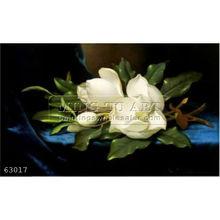 Handmade famous Magnolias Flower Oil Painting on canvas, Giant Magnolias on a Blue Velvet Cloth
