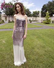EL-006 Latest Spaghetti Sequins Shiny Long Famous Designer Evening Dress
