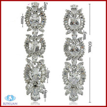 shiny zircon drop earrings plated platinum