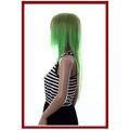 traje do partido verde reta anime peruca de cabelo