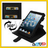 High quality 360 Degree Rotation Leather Case with Credit Card Slots & Holder for iPad 4 /for iPad 3 (Black)