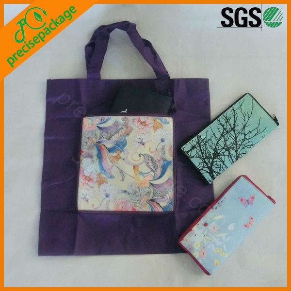 foldable reusable shopping bag with zipper