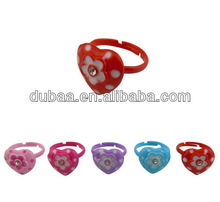 Factory Wholesale New Fashion Children Ring Plastic Adjustable Jewelry Ring Heart Ring