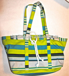 Mixit Green & Blue Striped Canvas Tote Beach Bag
