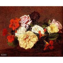 Dipinto a mano classici ancora vita pittura a olio di fiori foto, bouquet di rose e nasturtiums