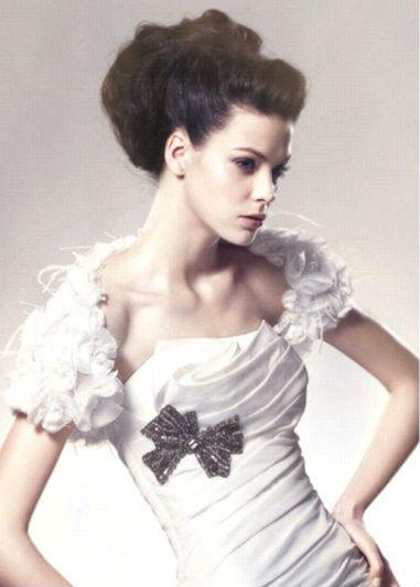 B0141 Open Bust Short Sleeve Ruffles Feather Bridal Wedding Bolero Jacket Shawl Wrap 2013 New Ar ...