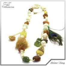 Colorful Semi Stone Peacock Plume Weaving Ball Bubble Necklace