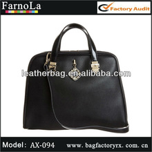Black pure cow leather trendy fashion designer handbags 2015(AX-094)
