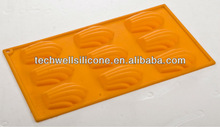 Traditional & classical FDA/LFGB certificated 9 holds shell shape silicone baking mould