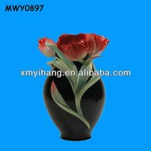 Elegant black with rose franz Porcelain Vase