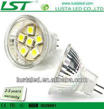 6 LEDs LED MR11 Bulb, 1.1 Watt, 6 pcs 5050 SMD, 12V AC/DC