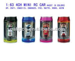 1:63 4CH Mini R/C Coke Car-4 Asst.(8 Colors)