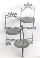 100547F Folded antique decorative sranding flower pot kitchen pot metal rack