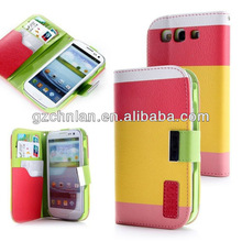 2013 colorful leather flip case for samsung galaxy s3