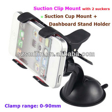 360 degree rotating ball head double clip universal Suction Cup Mount&Dashboard Stand Holder