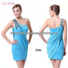 03594 One Shoulder Blue High Stretch Ornamental 2013 Mini Dress
