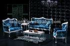 Classic silver leaf wooden frame blue fabric sofa SO-2015